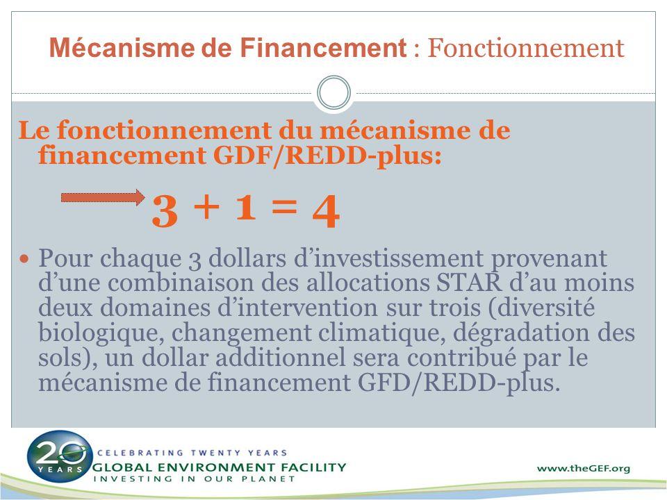 Mécanisme de Financement : Fonctionnement Le fonctionnement du mécanisme de financement GDF/REDD-plus: 3 + 1 = 4 Pour chaque 3 dollars dinvestissement