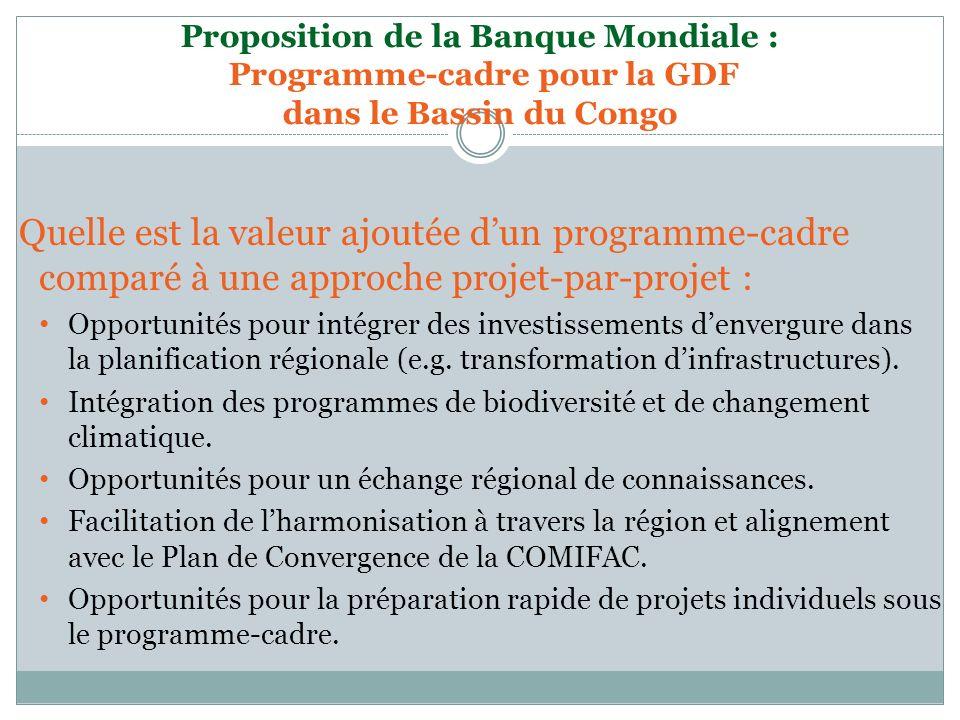 Proposition de la Banque Mondiale : Programme-cadre pour la GDF dans le Bassin du Congo Quelle est la valeur ajoutée dun programme-cadre comparé à une