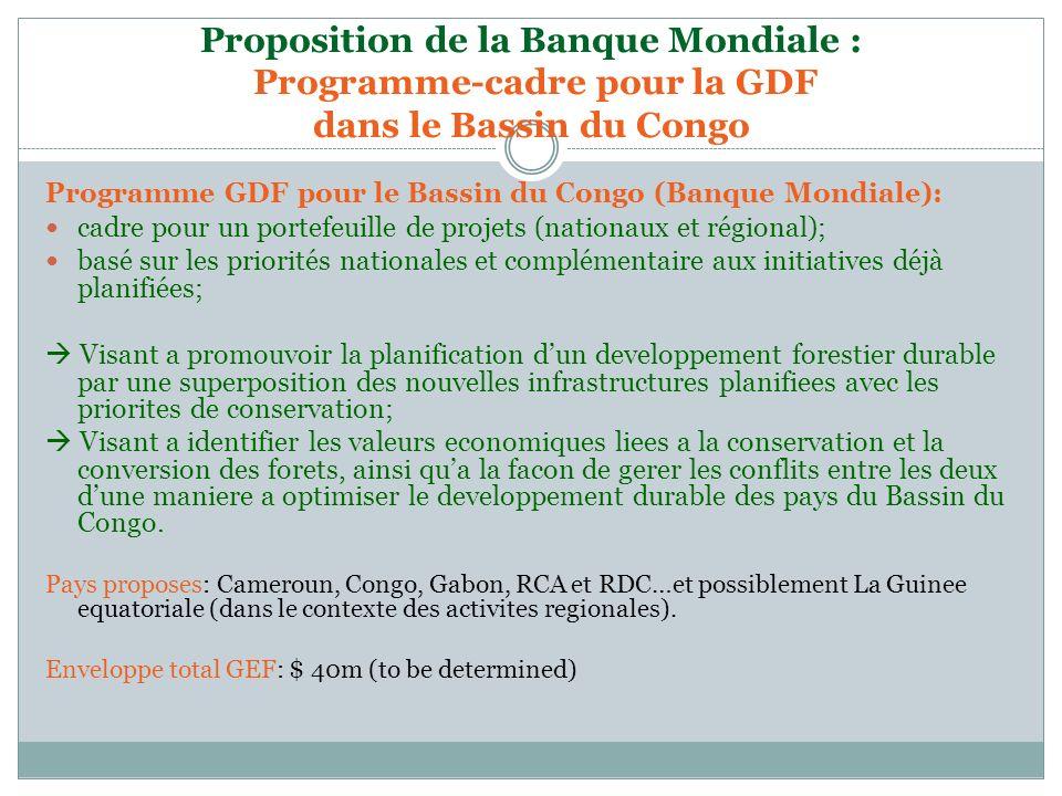 Proposition de la Banque Mondiale : Programme-cadre pour la GDF dans le Bassin du Congo Programme GDF pour le Bassin du Congo (Banque Mondiale): cadre