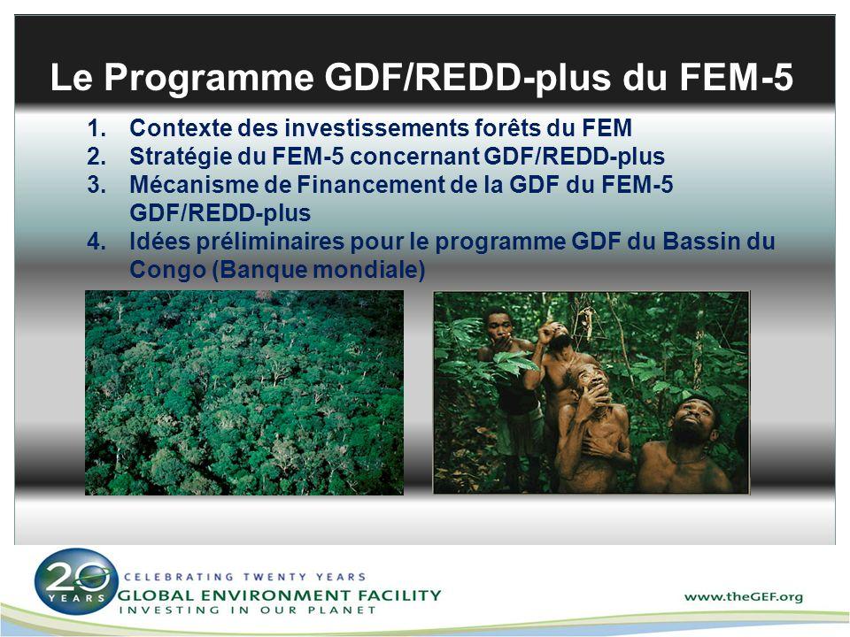 Le Programme GDF/REDD-plus du FEM-5 1.Contexte des investissements forêts du FEM 2.Stratégie du FEM-5 concernant GDF/REDD-plus 3.Mécanisme de Financem