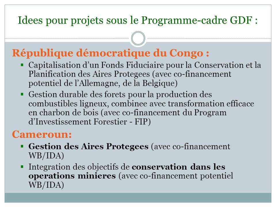 Idees pour projets sous le Programme-cadre GDF : République démocratique du Congo : Capitalisation dun Fonds Fiduciaire pour la Conservation et la Pla