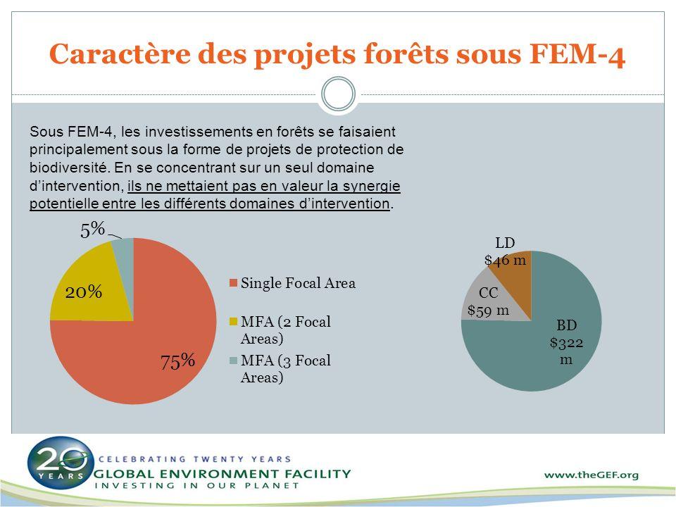Sous FEM-4, les investissements en forêts se faisaient principalement sous la forme de projets de protection de biodiversité. En se concentrant sur un