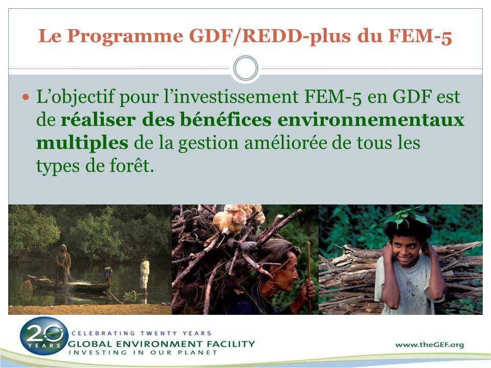 Le Programme GDF/REDD-plus du FEM-5 Lobjectif pour linvestissement FEM-5 en GDF est de réaliser des bénéfices environnementaux multiples de la gestion