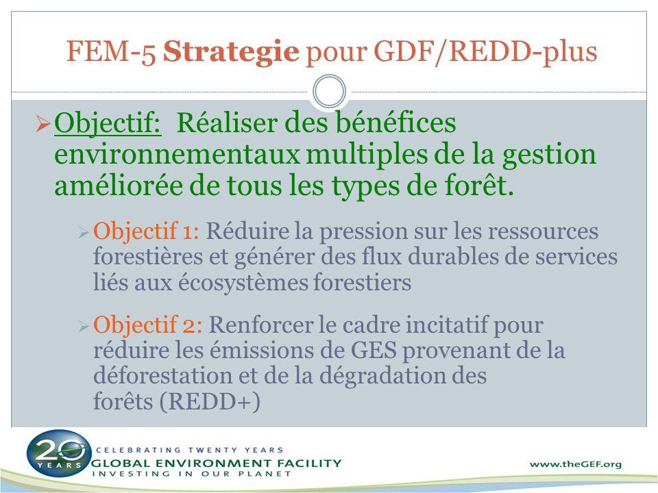 FEM-5 Strategie pour GDF/REDD-plus Objectif: Réaliser des bénéfices environnementaux multiples de la gestion améliorée de tous les types de forêt. Obj