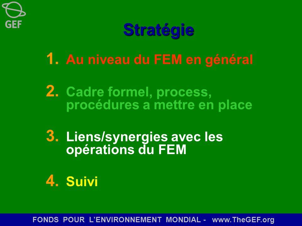 FONDS POUR LENVIRONNEMENT MONDIAL - www.TheGEF.org Stratégie 1. Au niveau du FEM en général 2. Cadre formel, process, procédures a mettre en place 3.