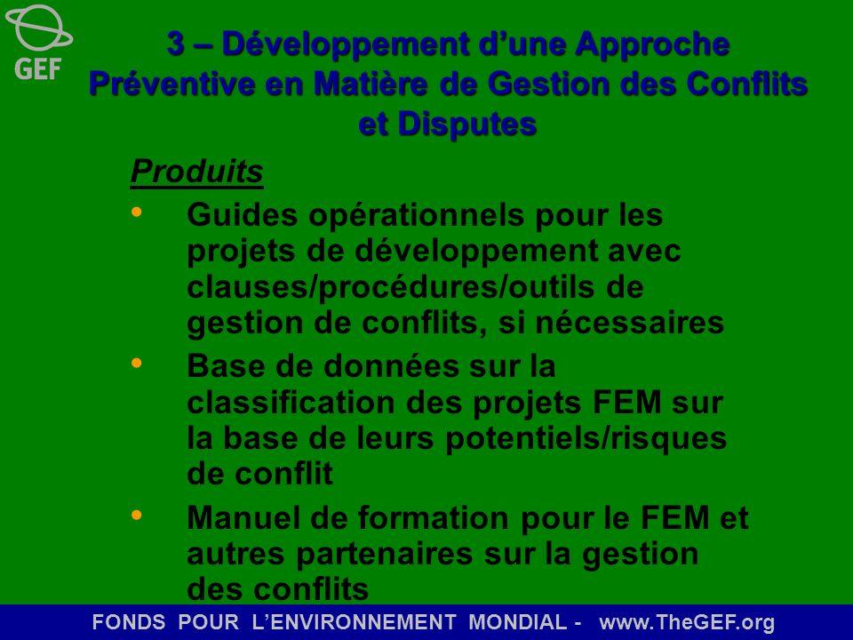 FONDS POUR LENVIRONNEMENT MONDIAL - www.TheGEF.org 3 – Développement dune Approche Préventive en Matière de Gestion des Conflits et Disputes Produits