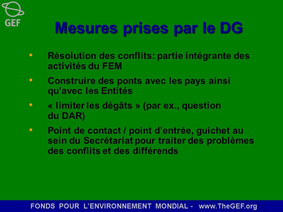 FONDS POUR LENVIRONNEMENT MONDIAL - www.TheGEF.org Mesures prises par le DG Résolution des conflits: partie intégrante des activités du FEM Construire