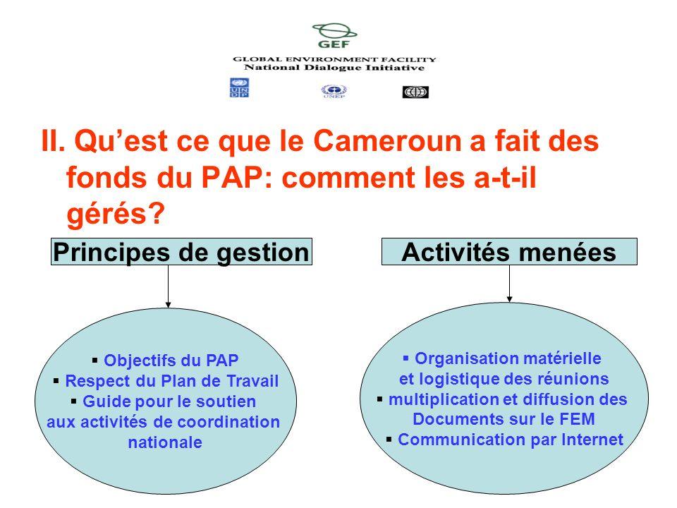 II. Quest ce que le Cameroun a fait des fonds du PAP: comment les a-t-il gérés? Principes de gestionActivités menées Objectifs du PAP Respect du Plan