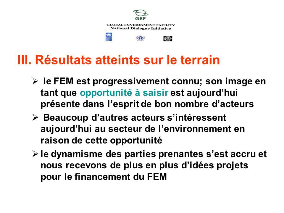 III. Résultats atteints sur le terrain le FEM est progressivement connu; son image en tant que opportunité à saisir est aujourdhui présente dans lespr