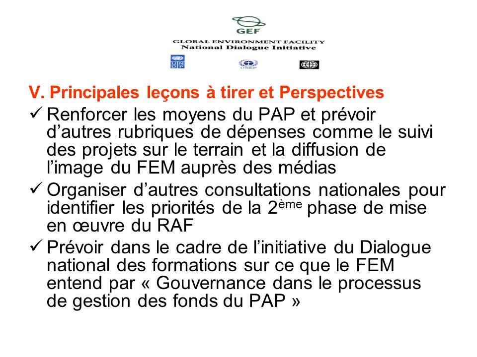 V. Principales leçons à tirer et Perspectives Renforcer les moyens du PAP et prévoir dautres rubriques de dépenses comme le suivi des projets sur le t