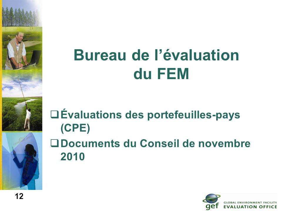 Bureau de lévaluation du FEM Évaluations des portefeuilles-pays (CPE) Documents du Conseil de novembre 2010 12