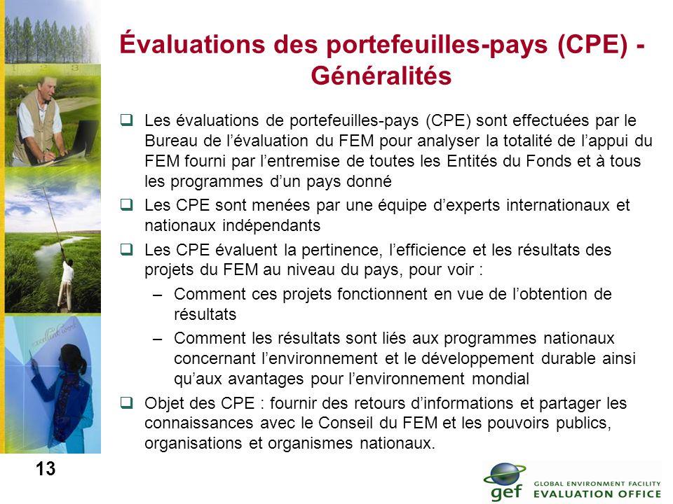 13 Évaluations des portefeuilles-pays (CPE) - Généralités Les évaluations de portefeuilles-pays (CPE) sont effectuées par le Bureau de lévaluation du