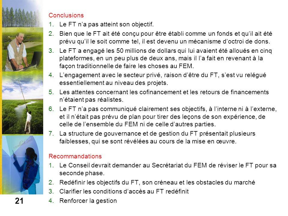 Conclusions 1.Le FT na pas atteint son objectif. 2.Bien que le FT ait été conçu pour être établi comme un fonds et quil ait été prévu quil le soit com