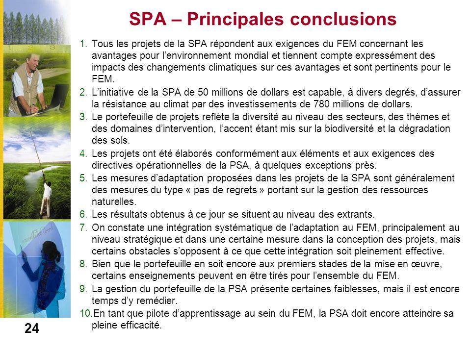SPA – Principales conclusions 1.Tous les projets de la SPA répondent aux exigences du FEM concernant les avantages pour lenvironnement mondial et tien