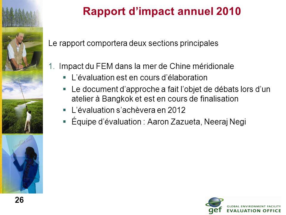 26 Rapport dimpact annuel 2010 Le rapport comportera deux sections principales 1.Impact du FEM dans la mer de Chine méridionale Lévaluation est en cou