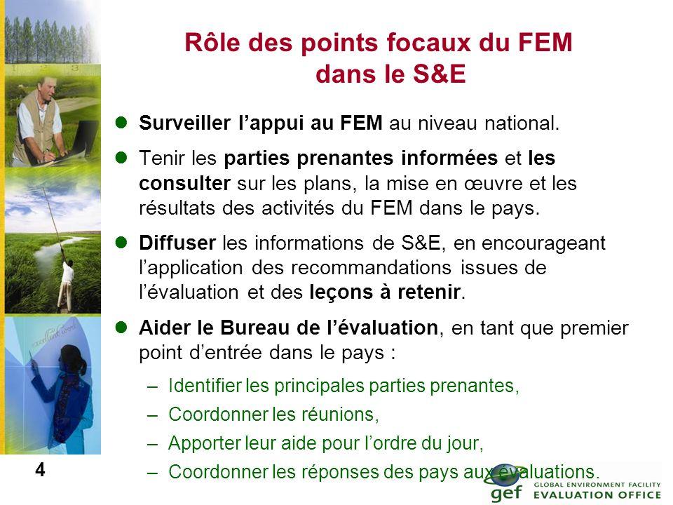 Rôle des points focaux du FEM dans le S&E Surveiller lappui au FEM au niveau national. Tenir les parties prenantes informées et les consulter sur les