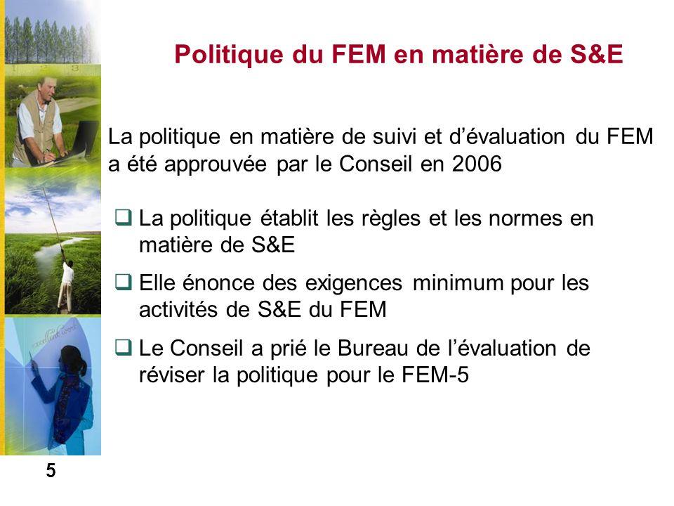 6 Processus de révision de la politique du FEM en matière de S&E Révision de la politique de S&E du FEM pour le FEM-5 –Lactualisation du suivi est menée par le Secrétariat du FEM –Lactualisation de lévaluation est menée par le Bureau de lévaluation du FEM Larges consultations et interaction avec les parties prenantes au moyen de sondages électroniques, dinterviews et de réunions interorganisations Interaction avec les points focaux au moyen de sondages électroniques, de questionnaires et dateliers sous-régionaux La Politique révisée sera présentée au Conseil en novembre 2010
