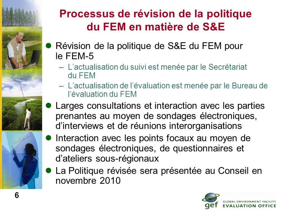 6 Processus de révision de la politique du FEM en matière de S&E Révision de la politique de S&E du FEM pour le FEM-5 –Lactualisation du suivi est men