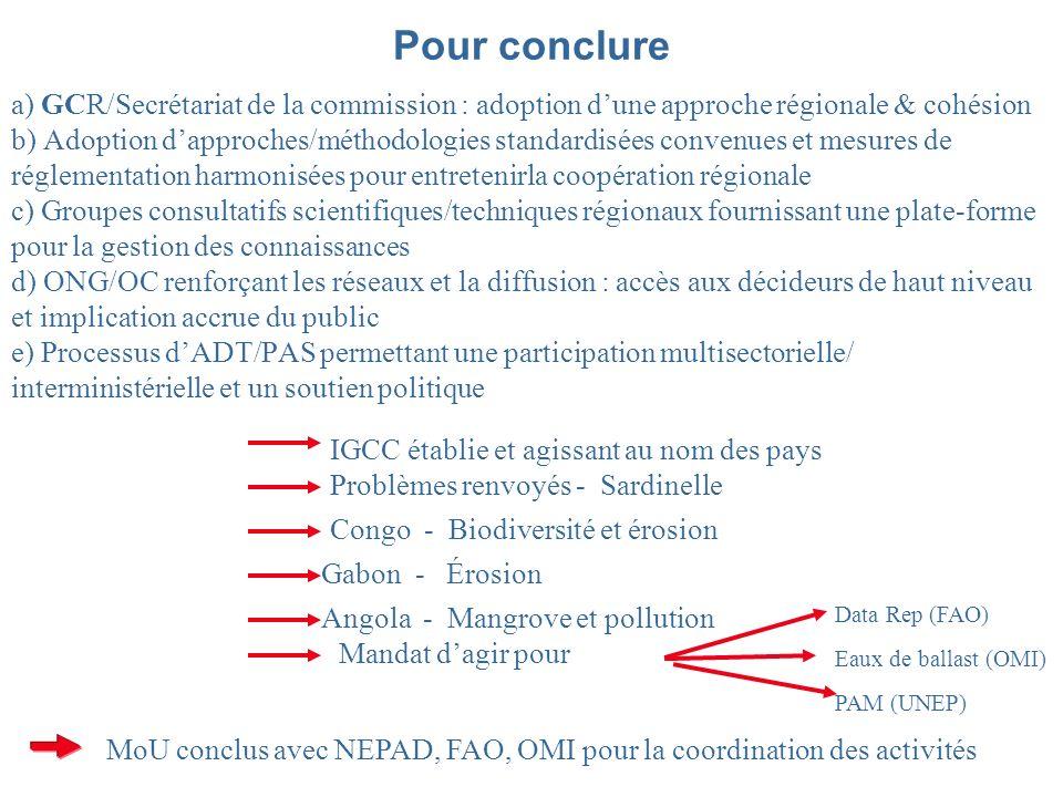 Pour conclure a) GCR/Secrétariat de la commission : adoption dune approche régionale & cohésion b) Adoption dapproches/méthodologies standardisées convenues et mesures de réglementation harmonisées pour entretenirla coopération régionale c) Groupes consultatifs scientifiques/techniques régionaux fournissant une plate-forme pour la gestion des connaissances d) ONG/OC renforçant les réseaux et la diffusion : accès aux décideurs de haut niveau et implication accrue du public e) Processus dADT/PAS permettant une participation multisectorielle/ interministérielle et un soutien politique IGCC établie et agissant au nom des pays Problèmes renvoyés - Sardinelle Congo - Biodiversité et érosion Gabon - Érosion Angola - Mangrove et pollution Mandat dagir pour Data Rep (FAO) Eaux de ballast (OMI) PAM (UNEP) MoU conclus avec NEPAD, FAO, OMI pour la coordination des activités