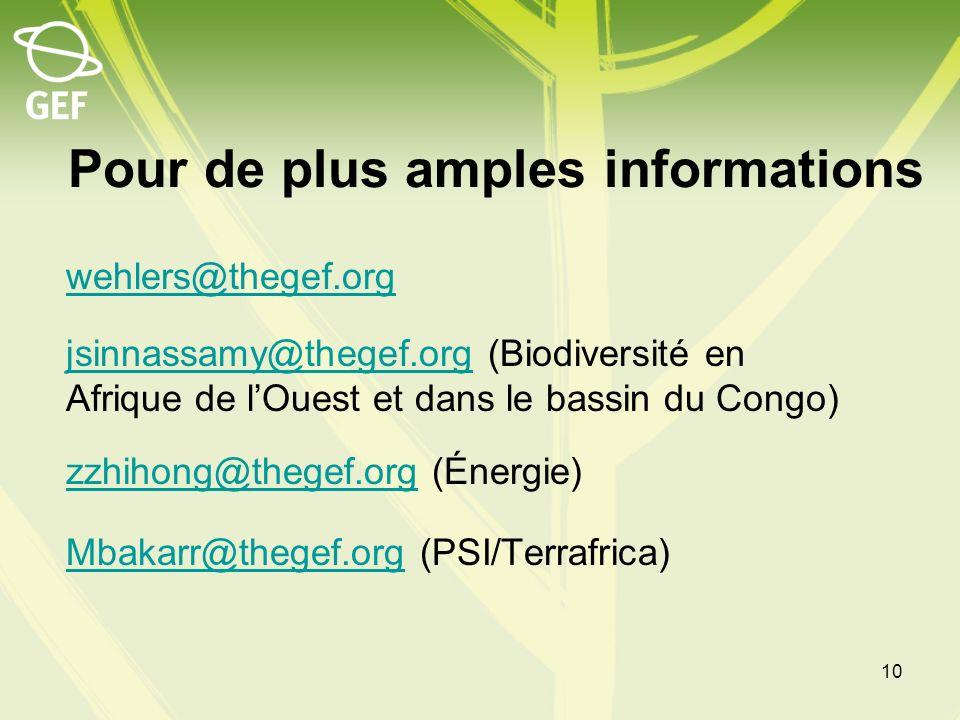 Pour de plus amples informations wehlers@thegef.org jsinnassamy@thegef.orgjsinnassamy@thegef.org (Biodiversité en Afrique de lOuest et dans le bassin