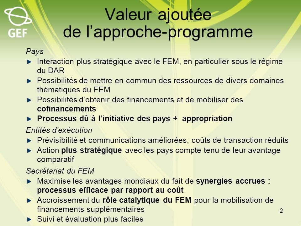 Principes Lapproche-programme doit être cohérente avec les stratégies des domaines thématiques du FEM pour maximiser les avantages pour lenvironnement mondial et accroître leur ampleur Possibilités accrues de dégager des synergies entre les domaines thématiques du FEM et avec les partenaires Les approches-programmes du FEM seront appliquées en partenariat avec tous les partenaires Possibilités accrues dactions catalytiques, de reproduction et dinnovation 3