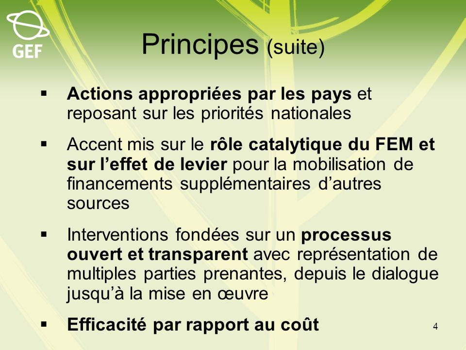 Principes (suite) Actions appropriées par les pays et reposant sur les priorités nationales Accent mis sur le rôle catalytique du FEM et sur leffet de
