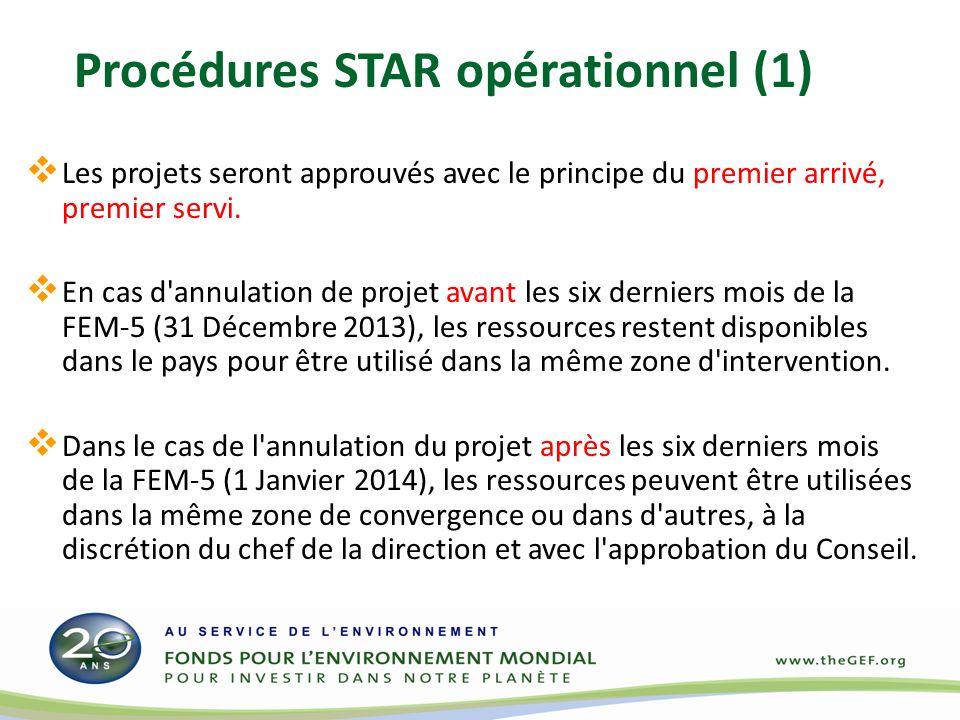 Les projets seront approuvés avec le principe du premier arrivé, premier servi. En cas d'annulation de projet avant les six derniers mois de la FEM-5