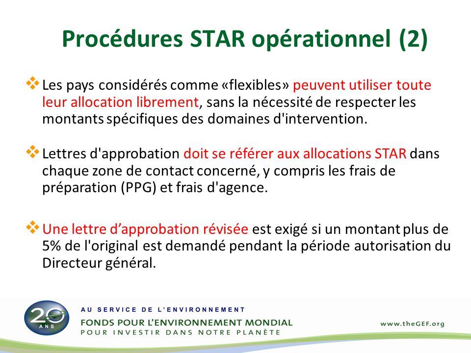 Procédures STAR opérationnel (2) Les pays considérés comme «flexibles» peuvent utiliser toute leur allocation librement, sans la nécessité de respecter les montants spécifiques des domaines d intervention.