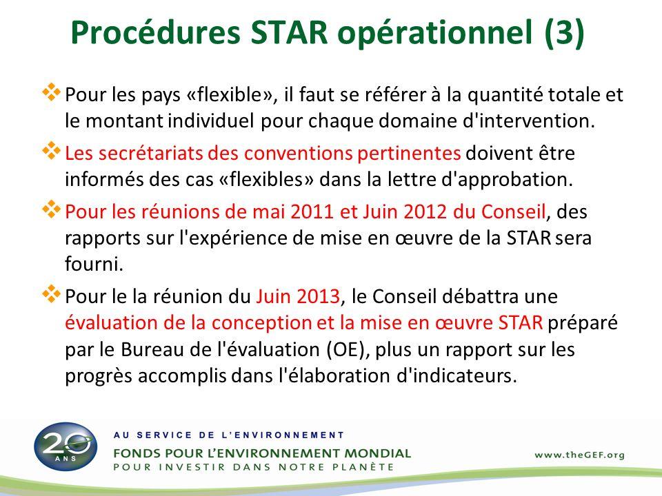 Procédures STAR opérationnel (3) Pour les pays «flexible», il faut se référer à la quantité totale et le montant individuel pour chaque domaine d'inte