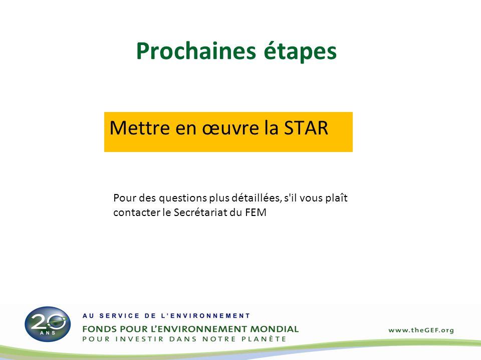 Prochaines étapes Mettre en œuvre la STAR Pour des questions plus détaillées, s'il vous plaît contacter le Secrétariat du FEM