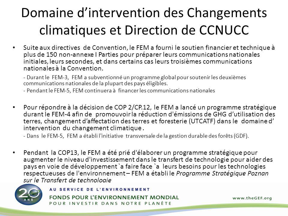 Domaine dintervention des Changements climatiques et Direction de CCNUCC Suite aux directives de Convention, le FEM a fourni le soutien financier et t