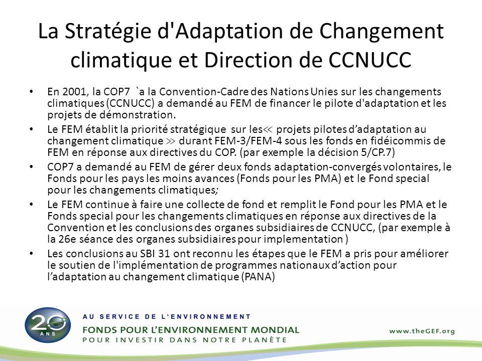 La Stratégie d Adaptation de Changement climatique et Direction de CCNUCC En 2001, la COP7 `a la Convention-Cadre des Nations Unies sur les changements climatiques (CCNUCC) a demandé au FEM de financer le pilote d adaptation et les projets de démonstration.