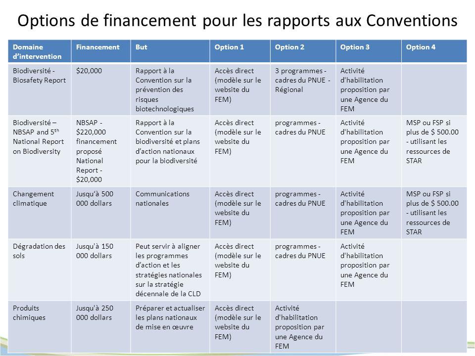 Options de financement pour les rapports aux Conventions Domaine dintervention FinancementButOption 1Option 2Option 3Option 4 Biodiversité - Biosafety