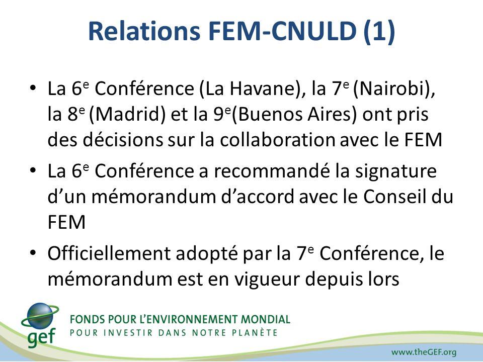Relations FEM-CNULD (1) La 6 e Conférence (La Havane), la 7 e (Nairobi), la 8 e (Madrid) et la 9 e (Buenos Aires) ont pris des décisions sur la collaboration avec le FEM La 6 e Conférence a recommandé la signature dun mémorandum daccord avec le Conseil du FEM Officiellement adopté par la 7 e Conférence, le mémorandum est en vigueur depuis lors
