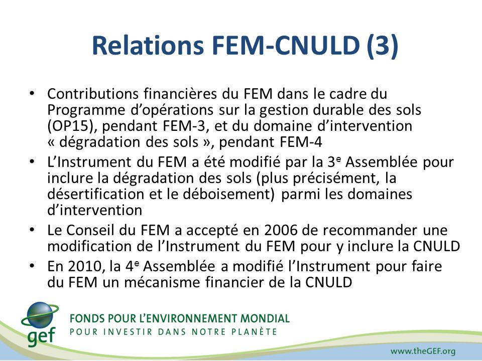 Relations FEM-CNULD (3) Contributions financières du FEM dans le cadre du Programme dopérations sur la gestion durable des sols (OP15), pendant FEM-3, et du domaine dintervention « dégradation des sols », pendant FEM-4 LInstrument du FEM a été modifié par la 3 e Assemblée pour inclure la dégradation des sols (plus précisément, la désertification et le déboisement) parmi les domaines dintervention Le Conseil du FEM a accepté en 2006 de recommander une modification de lInstrument du FEM pour y inclure la CNULD En 2010, la 4 e Assemblée a modifié lInstrument pour faire du FEM un mécanisme financier de la CNULD