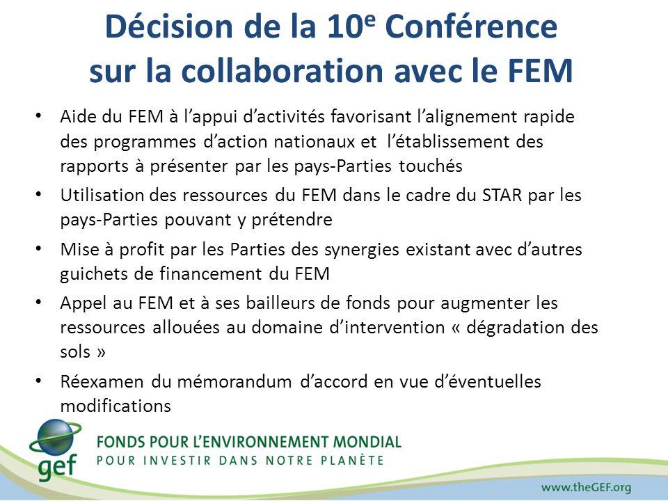 Décision de la 10 e Conférence sur la collaboration avec le FEM Aide du FEM à lappui dactivités favorisant lalignement rapide des programmes daction nationaux et létablissement des rapports à présenter par les pays-Parties touchés Utilisation des ressources du FEM dans le cadre du STAR par les pays-Parties pouvant y prétendre Mise à profit par les Parties des synergies existant avec dautres guichets de financement du FEM Appel au FEM et à ses bailleurs de fonds pour augmenter les ressources allouées au domaine dintervention « dégradation des sols » Réexamen du mémorandum daccord en vue déventuelles modifications