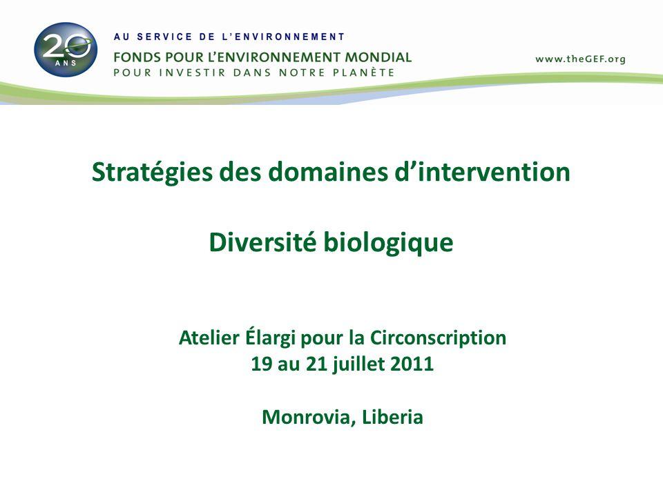 Stratégies des domaines dintervention Diversité biologique Atelier Élargi pour la Circonscription 19 au 21 juillet 2011 Monrovia, Liberia