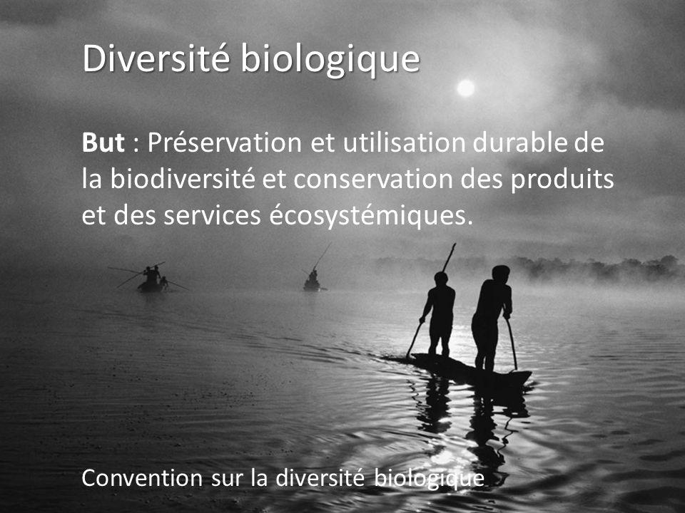 Diversité biologique But : Préservation et utilisation durable de la biodiversité et conservation des produits et des services écosystémiques.