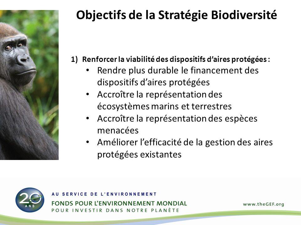 Objectifs de la Stratégie Biodiversité 1)Renforcer la viabilité des dispositifs daires protégées : Rendre plus durable le financement des dispositifs daires protégées Accroître la représentation des écosystèmes marins et terrestres Accroître la représentation des espèces menacées Améliorer lefficacité de la gestion des aires protégées existantes