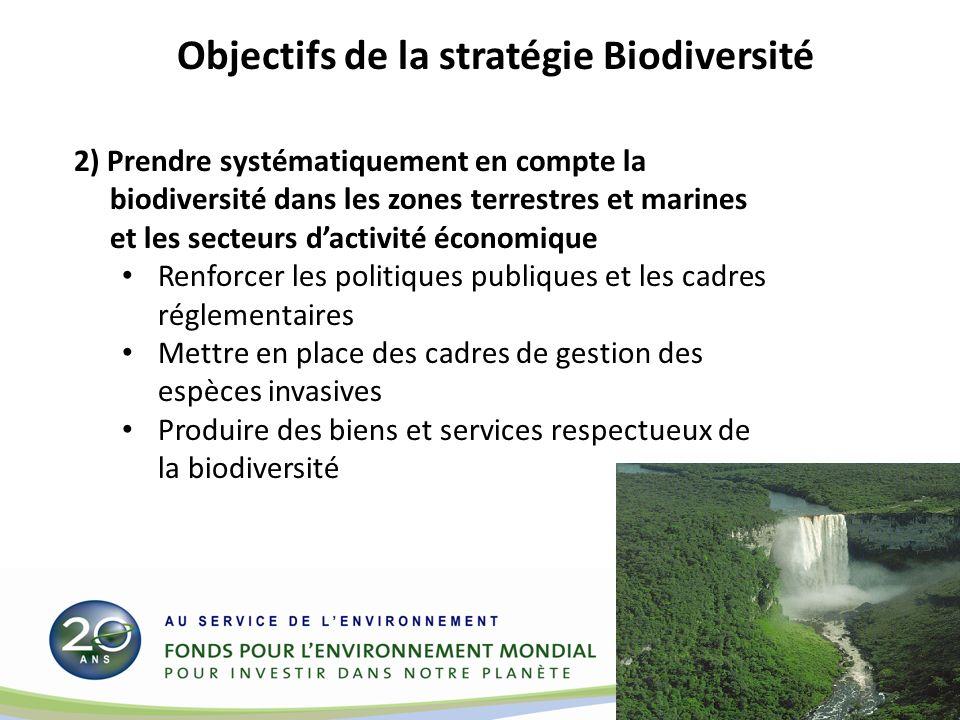 2) Prendre systématiquement en compte la biodiversité dans les zones terrestres et marines et les secteurs dactivité économique Renforcer les politiques publiques et les cadres réglementaires Mettre en place des cadres de gestion des espèces invasives Produire des biens et services respectueux de la biodiversité Objectifs de la stratégie Biodiversité