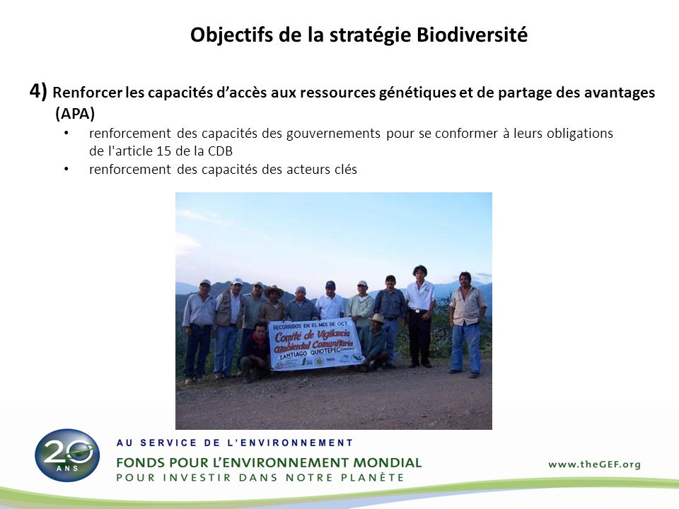 4) Renforcer les capacités daccès aux ressources génétiques et de partage des avantages (APA) renforcement des capacités des gouvernements pour se conformer à leurs obligations de l article 15 de la CDB renforcement des capacités des acteurs clés Objectifs de la stratégie Biodiversité