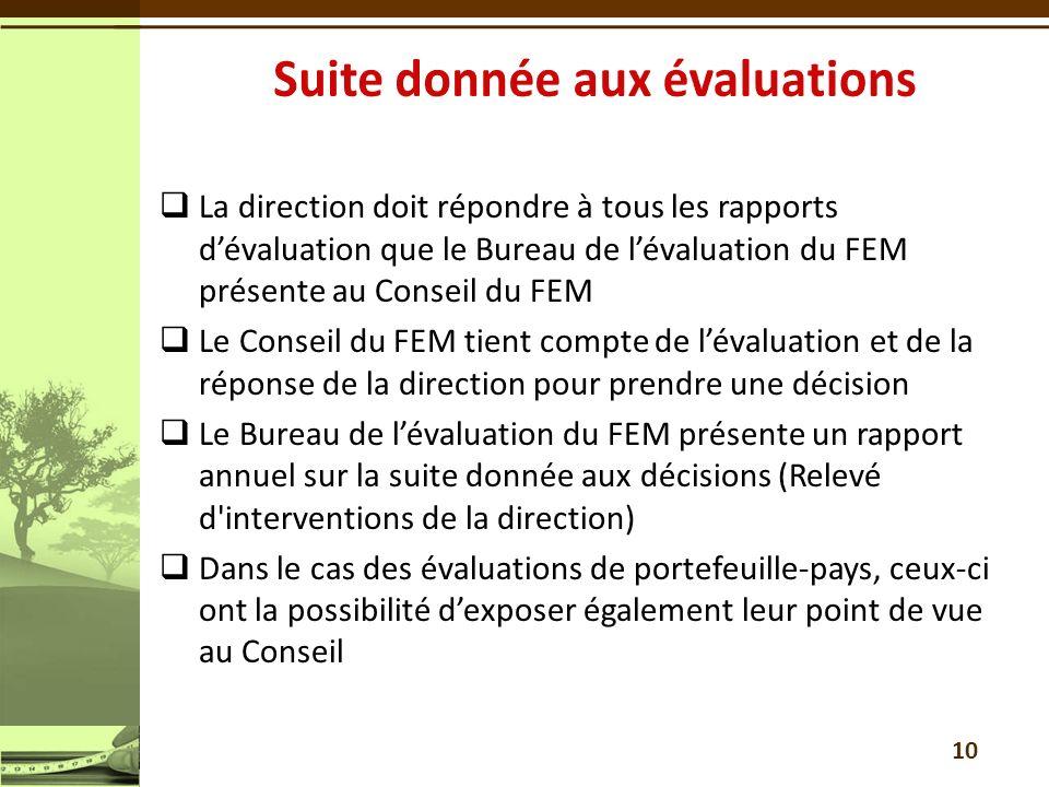 La direction doit répondre à tous les rapports dévaluation que le Bureau de lévaluation du FEM présente au Conseil du FEM Le Conseil du FEM tient comp