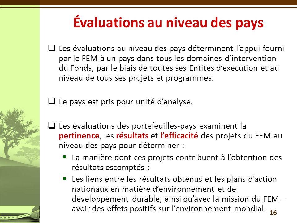 Les évaluations au niveau des pays déterminent lappui fourni par le FEM à un pays dans tous les domaines dintervention du Fonds, par le biais de toute