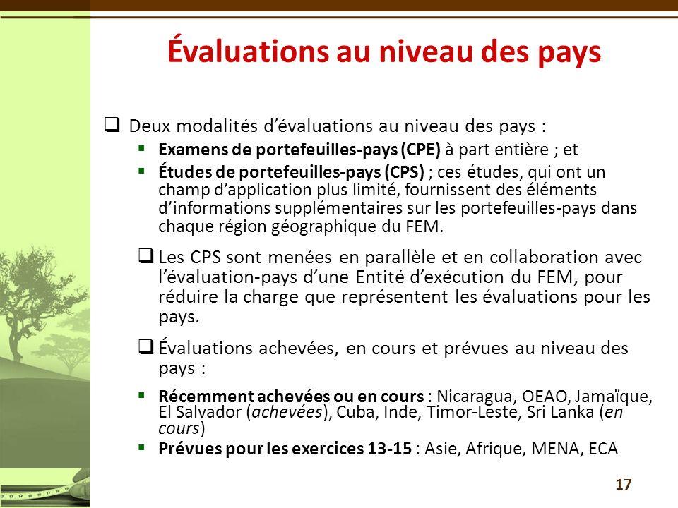 Deux modalités dévaluations au niveau des pays : Examens de portefeuilles-pays (CPE) à part entière ; et Études de portefeuilles-pays (CPS) ; ces étud