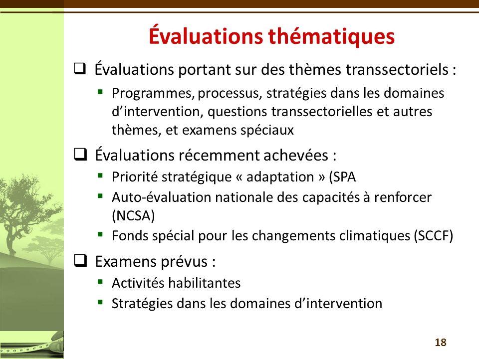 Évaluations portant sur des thèmes transsectoriels : Programmes, processus, stratégies dans les domaines dintervention, questions transsectorielles et