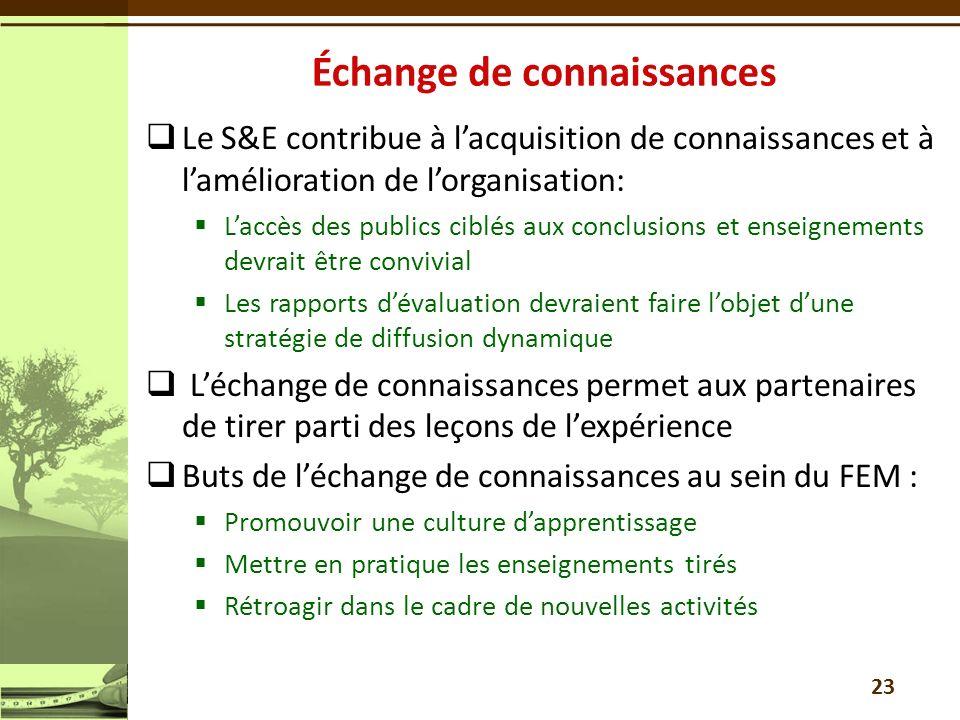Le S&E contribue à lacquisition de connaissances et à lamélioration de lorganisation: Laccès des publics ciblés aux conclusions et enseignements devra