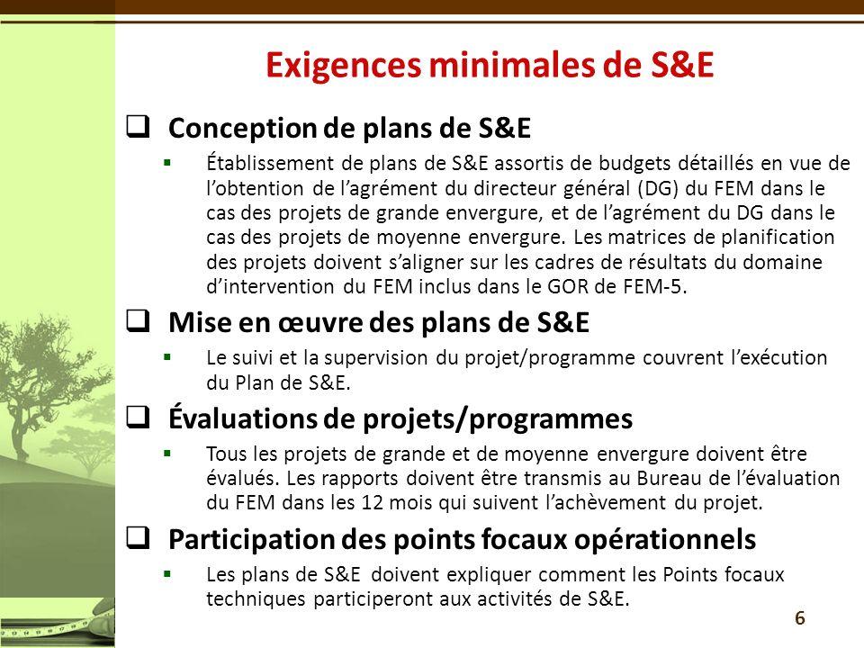 Conception de plans de S&E Établissement de plans de S&E assortis de budgets détaillés en vue de lobtention de lagrément du directeur général (DG) du