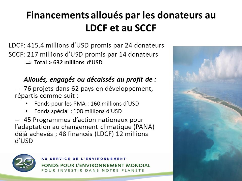 Financements alloués par les donateurs au LDCF et au SCCF LDCF: 415.4 millions dUSD promis par 24 donateurs SCCF: 217 millions dUSD promis par 14 donateurs Total > 632 millions dUSD Alloués, engagés ou décaissés au profit de : – 76 projets dans 62 pays en développement, répartis comme suit : Fonds pour les PMA : 160 millions dUSD Fonds spécial : 108 millions dUSD – 45 Programmes daction nationaux pour ladaptation au changement climatique (PANA) déjà achevés ; 48 financés (LDCF) 12 millions dUSD 16