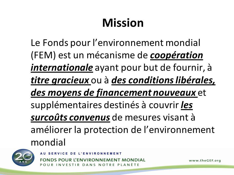 Mission Le Fonds pour lenvironnement mondial (FEM) est un mécanisme de coopération internationale ayant pour but de fournir, à titre gracieux ou à des conditions libérales, des moyens de financement nouveaux et supplémentaires destinés à couvrir les surcoûts convenus de mesures visant à améliorer la protection de lenvironnement mondial