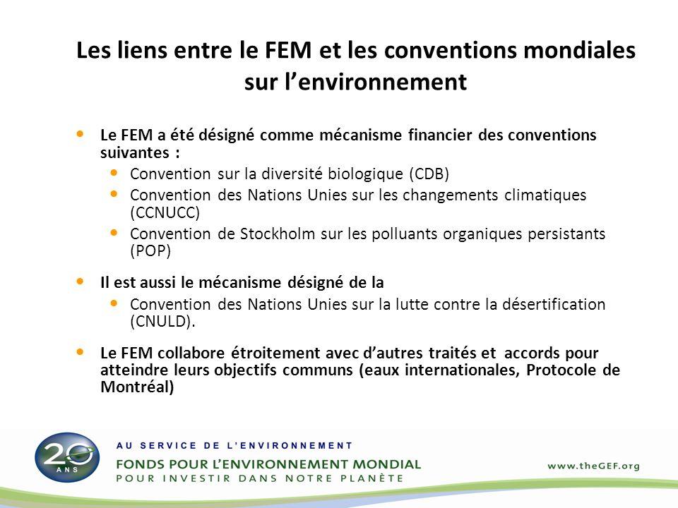 Les liens entre le FEM et les conventions mondiales sur lenvironnement Le FEM a été désigné comme mécanisme financier des conventions suivantes : Convention sur la diversité biologique (CDB) Convention des Nations Unies sur les changements climatiques (CCNUCC) Convention de Stockholm sur les polluants organiques persistants (POP) Il est aussi le mécanisme désigné de la Convention des Nations Unies sur la lutte contre la désertification (CNULD).